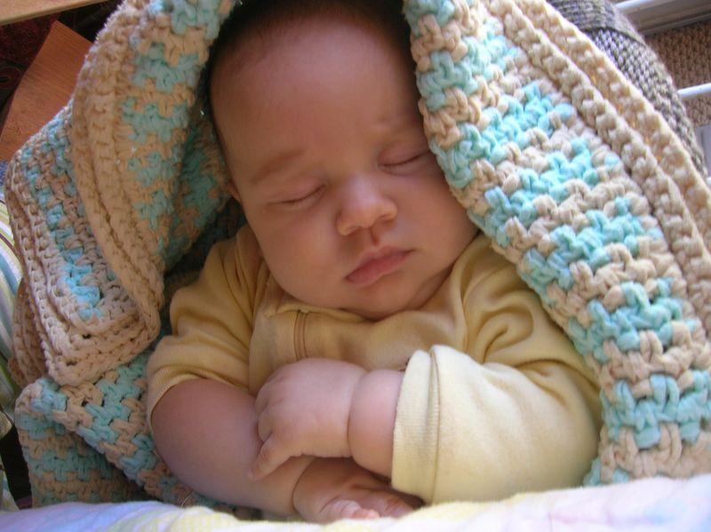J sleeping in crochet